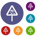 Slippery when wet road sign icons set