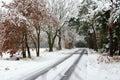 Slippy frozen road on winter time snow Royalty Free Stock Photo