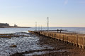 Slipway river wyre estuary knott end lancashire looking down the side of the ferry at on sea in with the view across the at low Royalty Free Stock Photography