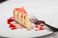 Slisce of Cheesecake with Strawberry Sauce Royalty Free Stock Photo