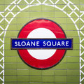 Sloane Square tube station sign - London Underground roundel Royalty Free Stock Photo