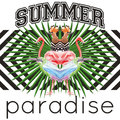 Slogan summer paradise tropical birds and leaves geometric backg
