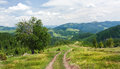 The slopes of the Carpathian Mountains. The landscape of green hills Royalty Free Stock Photo