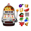 A slot fruit machine with cherry winning on cherries and various icons Stock Photos