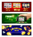 Slot Machine Banners Set Royalty Free Stock Photo