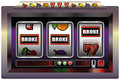 Slot machine broke illustration of a with three reels symbols and the lettering isolated vector on white background Royalty Free Stock Photos