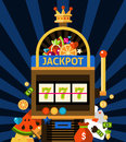 Slot machine concept with jackpot crown and money on dark blue background with rays flat vector illustration Royalty Free Stock Images