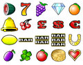 Slot machine fruits other icon vector illustrations Royalty Free Stock Photos