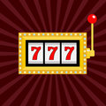 Slot machine. Golden color Glowing lamp light. 777 Jackpot. Lucky sevens. Red handle lever. Big win Online casino, gambling club s Royalty Free Stock Photo