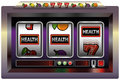Slot machine health illustration of a with three reels symbols and the lettering isolated vector on white background Royalty Free Stock Image