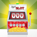 Slot machine illustration of super in the casino Royalty Free Stock Photo