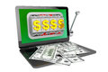 Slot machine inside laptop with dollars online casino concept on a white background Royalty Free Stock Photo