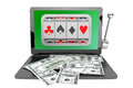Slot machine inside laptop with dollars online casino concept on a white background Stock Images