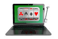 Slot machine inside laptop online casino concept on a white background Stock Photography