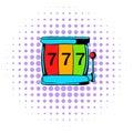 Slot machine jackpot icon, comics style Royalty Free Stock Photo