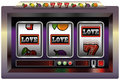 Slot machine love illustration of a with three reels symbols and the lettering isolated vector on white background Royalty Free Stock Image