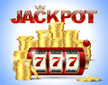 Slot machine with lucky seven and golden coins and red glossy jackpot text with crown on blue background. Royalty Free Stock Photo