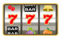 Slot machine with lucky seven number jackpot Royalty Free Stock Photo