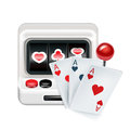 Slot machine with playing cards isolated on white background Stock Images