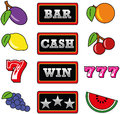 Slot machine symbols illustration of different Royalty Free Stock Images