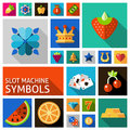 Slot machine symbols set Royalty Free Stock Photo