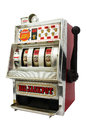Slot machine with three bells jackpot isolated on white background Stock Photos