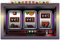 Slot machine yes illustration of a with three reels symbols and the lettering yen euro and dollar sign isolated Royalty Free Stock Image