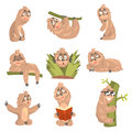 Sloth Animal Cute Cartoon Character Different Life Situations And Emotions Set Of Flat Cartoon Stickers