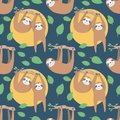 stock image of  Sloth cute cartoon style animal seamless pattern on dark blue background
