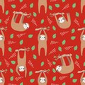Sloth cute seamless pattern with trendy hanging cartoon style animals with leaves and branches on bright red background