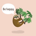 Sloth hanging on tree branch. Cute cartoon character. Wild jungle animal collection. Baby education. Isolated. Flat