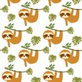 Sloths in Tropical Jungle Seamless Pattern, sloths Repeat Pattern for baby cloth, textile design, fabric print, fashion or backgro