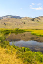 Slough creek yellowstone in the lamar valley of national park is a favorite spot for fly fishermen and woman Stock Photos