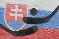 Slovak flag and two hockey sticks hockey