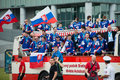 Slovak ice hockey team greets with fans Stock Image