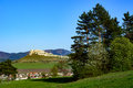 Slovak landscape with Spis castle and hills