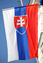 Slovak national flag on a mast Stock Images