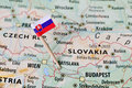 Slovakia flag on map Royalty Free Stock Photo