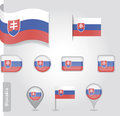 The slovakia flag set of icons and flags glossy matte on a white background Royalty Free Stock Photo