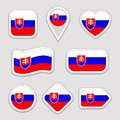 Slovakia flag vector set. Slovak flags stickers collection. Isolated geometric icons. National symbols badges. Web
