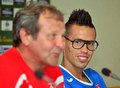 Slovakia football press conference napoli s slovakian star marek hamšík pictured near s national footbal team coach ján kozák Royalty Free Stock Photo