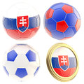 Slovakia football team attributes isolated set of four soccer ball on white Royalty Free Stock Photography