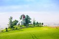 Slovakia rural church panorama small in the hills and trees Royalty Free Stock Photography