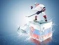 Slovakia - Slovenia game. Spunky hockey player on ice cube