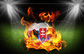 Slovakia Soccer ball on fire,