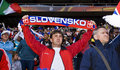Slovakia Soccer Supporters - FIFA WC Royalty Free Stock Photo