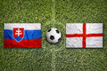 Slovakia vs. England flags on soccer field