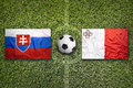 Slovakia vs. Malta flags on soccer field