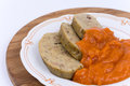 Slovakian recipe of chicken liver pasta with tomato sauce