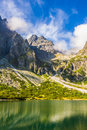Slovakian Tatras. Mountain valley with green pond.